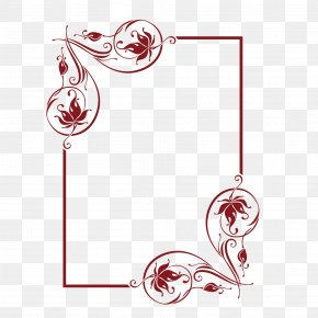 Vector Red Diagonal Large Flower European Vertical Frame - Flower Euclidean Vector PNG