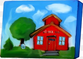 Square Box House Oil Painting Material - Black Square House Oil Painting PNG