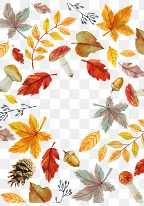 Watercolor Fall Elemental Card Vector - Autumn Leaf Euclidean Vector PNG