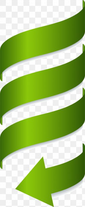 Vector Painted Green Spiral Arrow - Euclidean Vector PNG