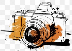 Focus Illustration Of Hand Drawn Camera - Single-lens Reflex Camera Drawing Photography Illustration PNG