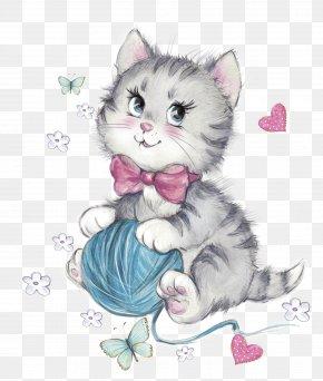 Kitten With Wool - Cat Kitten Wool Clip Art PNG