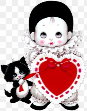 Cute Mime With Heart And Kitten Picture - Pierrot Harlequin Red Easter Egg Clip Art PNG