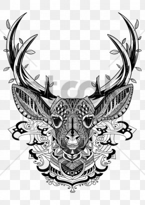 Reindeer Vector - White-tailed Deer Adult Coloring Book: Stress Relieving Patterns Moose PNG