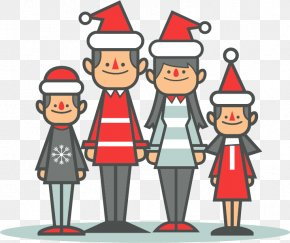 Family Christmas Cartoon Vector Material - Christmas Family Euclidean Vector Child PNG