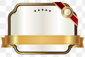 White Label With Gold Ribbon Clipart Image - Ribbon Gold Clip Art PNG
