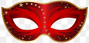 Red Carnival Mask Clip Art Image - Carnival Of Venice Mask PNG