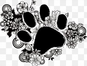 Cartoon Hand-painted Flowers And Cat Footprints - Cat Food Dog PNG
