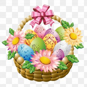 Easter Basket With Easter Eggs And Flowers Picture - Egg In The Basket Easter Egg PNG