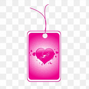 Purple Heart-shaped Tag - Love Heart Valentine's Day Illustration PNG