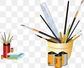Vector Cartoon Pen Stationery Film - Photographic Film Pencil Cartoon Brush Pot PNG