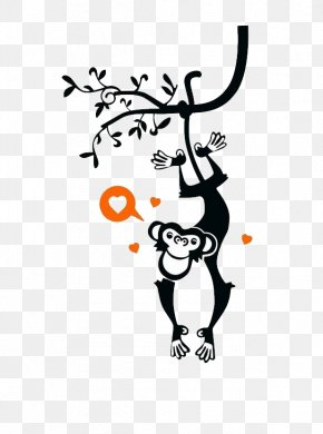 Monkey Hanging From A Tree - Wall Decal Bedroom Child PNG