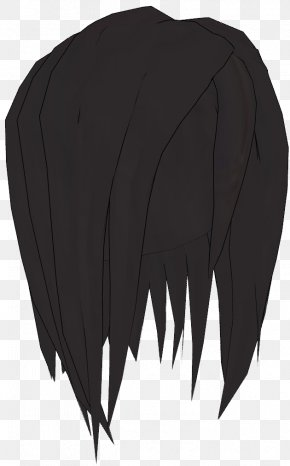 Long Hair - Black Hair Bangs Feather Long Hair PNG