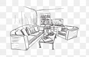 House Sketch - Living Room Couch Drawing Interior Design Services PNG