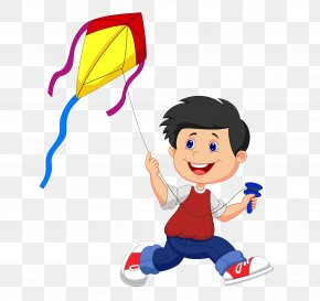 Small People Flying Kite Material Free To Pull - Kite Cartoon Illustration PNG