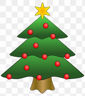 Picture Of Evergreen Tree - Santa Claus Christmas Tree Clip Art PNG