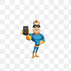 Lovely Hand-painted Cartoon Hero Holding A Cell Phone - Superman Captain America Superhero Cartoon Animation PNG