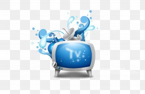 Blue TV Posters Element - Television Channel Card Sharing PNG