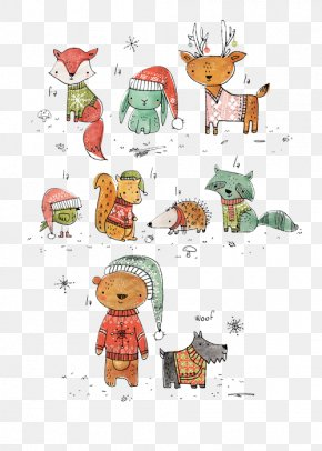 Hand-painted Christmas Animals, Elements - Christmas Card Illustrator Illustration PNG
