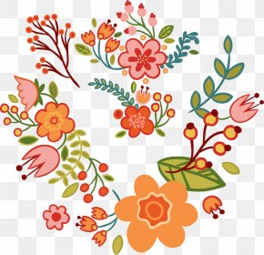 Floral Art Deco Word - Floral Design Flower Clip Art PNG