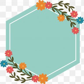 Green Hexagonal Flower Title Box - Hexagon Clip Art PNG