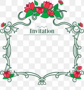 Red Vine Flower Invitation Card - Flower Euclidean Vector PNG