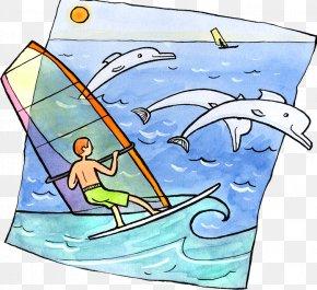 Sea Sail Illustration - Windsurfing Stock Illustration Clip Art PNG