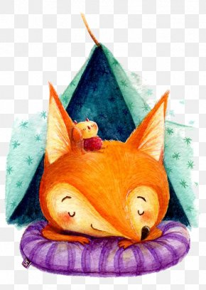 Cartoon Fox - Red Fox Drawing Watercolor Painting Illustration PNG