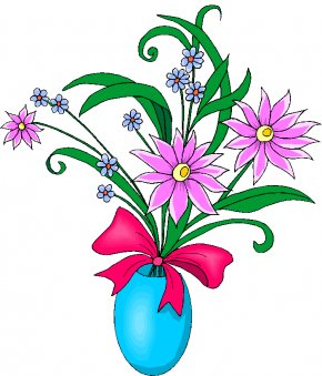 Graphic Art Free - Vase Of Flowers Clip Art PNG