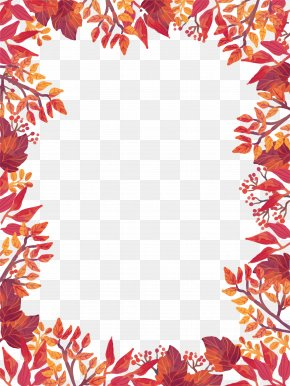 Autumn Leaves Border - Flyer Autumn Template Harvest Festival PNG