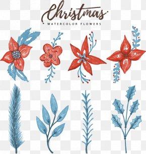 Watercolor Christmas Flower Decoration - Floral Design Christmas Watercolor Painting Clip Art PNG