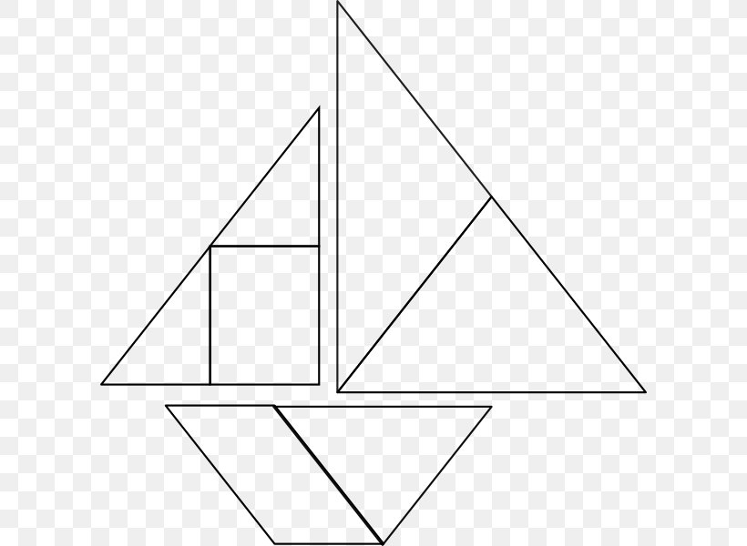 Tangram White Puzzle Clip Art, PNG, 600x600px, Tangram, Area, Black, Black And White, Boat Download Free