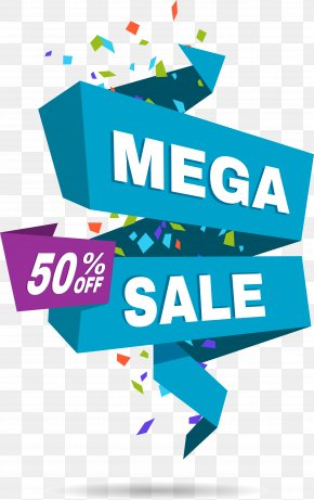 Blue Half Tag - Paper Label Sales Promotion PNG
