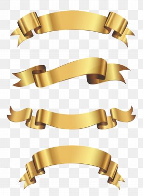 Gold Banner Cliparts - Borders And Frames Ribbon Gold Clip Art PNG