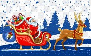 Vector Santa Claus - Santa Claus Reindeer Christmas Gift Illustration PNG