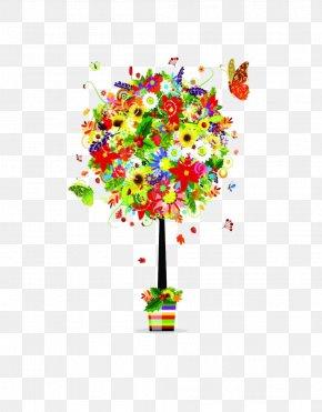 Vector Creative Floral Trees - Flower Floral Design Clip Art PNG