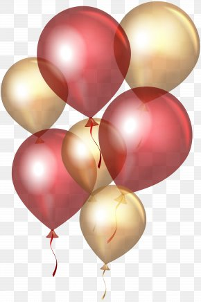 Transparent Red Gold Balloons Clip Art - Balloon Gold Clip Art PNG