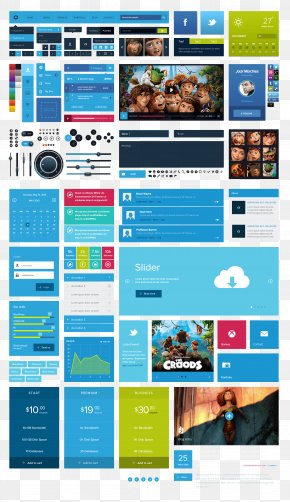 Blue UI Kit - User Interface Button Download Icon PNG