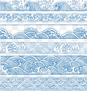 Blue Chinese Wind Wave Pattern Decoration Pattern - China Wind Wave Pattern PNG