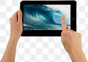 Tablet In Hands Image - Samsung Galaxy Note 10.1 Android NOVO7 Touchscreen PNG