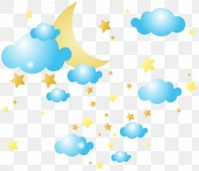 Moon Clouds And Stars Clip-Art Image - Cloud Star Moon Clip Art PNG