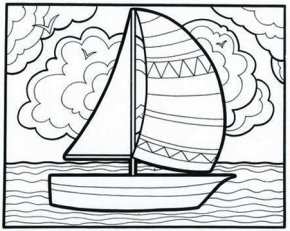 Sailboat Pictures For Kids - Coloring Book Doodle Page PNG