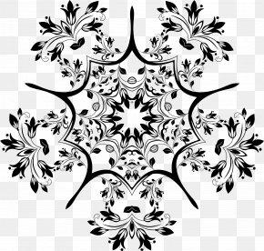 Floral Design - Flower Black And White Floral Design Pattern PNG