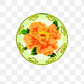 Round Yellow Phnom Penh Peony Pattern - Moutan Peony Floral Design Drawing PNG