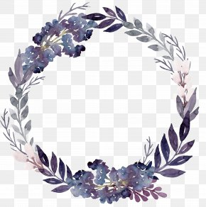 Purple Flowers Foliage Garland - Flower Wreath Leaf Purple PNG