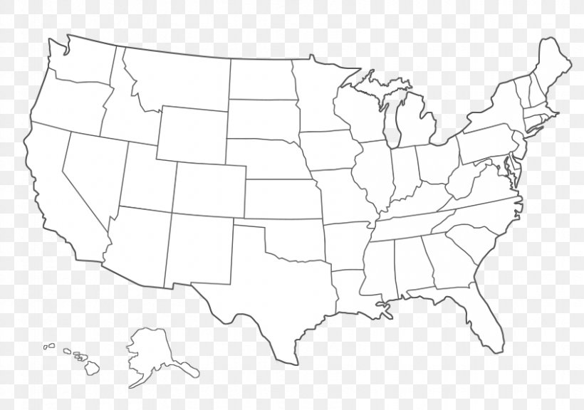 United States Blank Map Black And White Clip Art, PNG ...