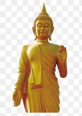 Yellow Buddha Sculpture - Thailand Gautama Buddha Statue Standing Buddha PNG