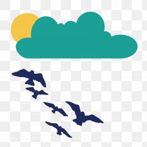 Vector Clouds Sun Seagull Flying Birds PNG