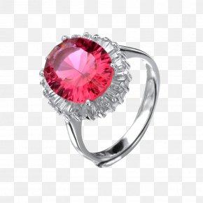 Jewelry Hand-painted Cartoon,Red Diamond Ring - Ring Diamond Jewellery PNG