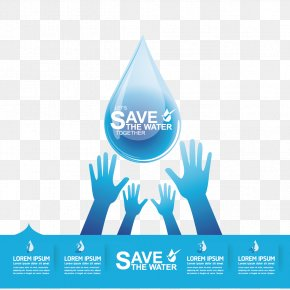 Vector Water Droplets And Hand - Water Efficiency Water Conservation Infographic PNG